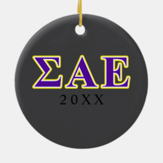 Sigma Alpha Epsilon Purple and Yellow Letters Christmas Ornament