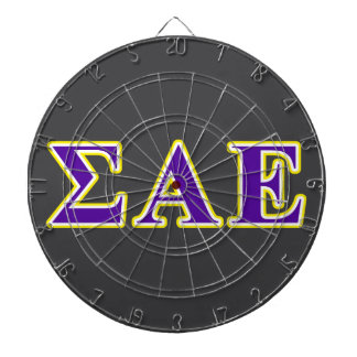 Sigma Alpha Epsilon Purple and Yellow Letters Dartboard