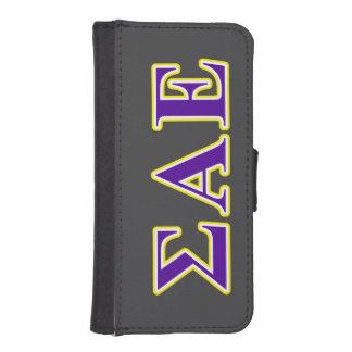 Sigma Alpha Epsilon Purple and Yellow Letters iPhone SE/5/5s Wallet Case