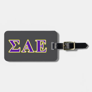 Sigma Alpha Epsilon Purple and Yellow Letters Luggage Tag