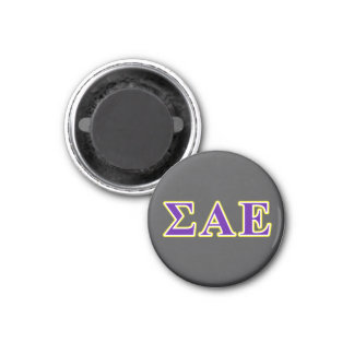 Sigma Alpha Epsilon Purple and Yellow Letters Magnet
