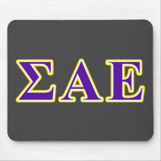Sigma Alpha Epsilon Purple and Yellow Letters Mouse Mat