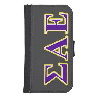 Sigma Alpha Epsilon Purple and Yellow Letters Samsung S4 Wallet Case