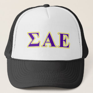 Sigma Alpha Epsilon Purple and Yellow Letters Trucker Hat