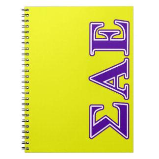 Sigma Alpha Epsilon Purple Letters Notebooks