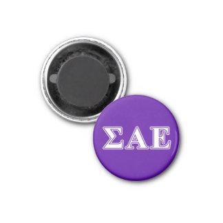 Sigma Alpha Epsilon White and Purple Letters 3 Cm Round Magnet