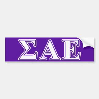 Sigma Alpha Epsilon White and Purple Letters Bumper Sticker