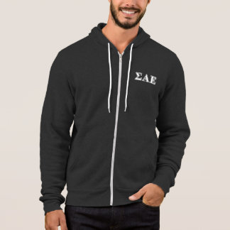 Sigma Alpha Epsilon White and Purple Letters Hoodie