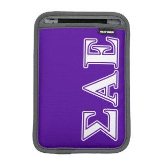 Sigma Alpha Epsilon White and Purple Letters iPad Mini Sleeve