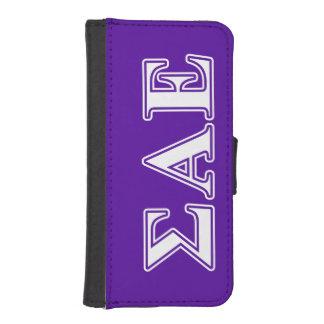 Sigma Alpha Epsilon White and Purple Letters iPhone SE/5/5s Wallet Case