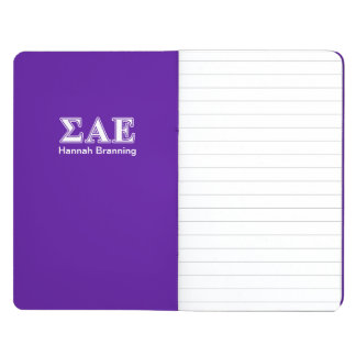 Sigma Alpha Epsilon White and Purple Letters Journal
