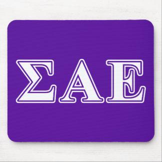 Sigma Alpha Epsilon White and Purple Letters Mouse Mat