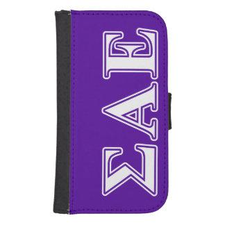 Sigma Alpha Epsilon White and Purple Letters Samsung S4 Wallet Case