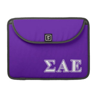 Sigma Alpha Epsilon White and Purple Letters Sleeve For MacBook Pro