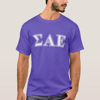 Sigma Alpha Epsilon White and Purple Letters T-Shirt