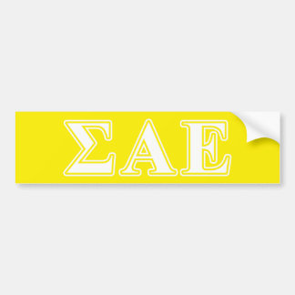 Sigma Alpha Epsilon White and Yellow Letters Bumper Sticker