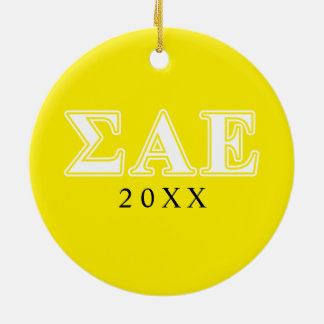 Sigma Alpha Epsilon White and Yellow Letters Christmas Ornament