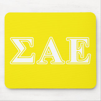 Sigma Alpha Epsilon White and Yellow Letters Mouse Mat