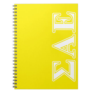 Sigma Alpha Epsilon White and Yellow Letters Notebooks