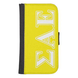 Sigma Alpha Epsilon White and Yellow Letters Samsung S4 Wallet Case