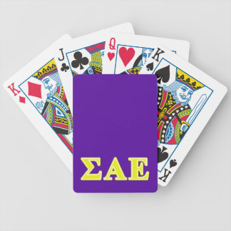 Sigma Alpha Epsilon Yellow Letters Bicycle Playing Cards