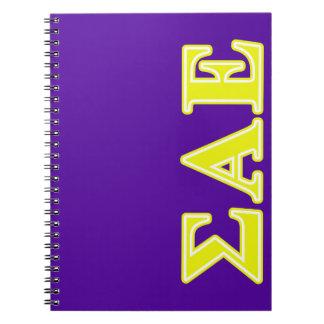 Sigma Alpha Epsilon Yellow Letters Notebooks