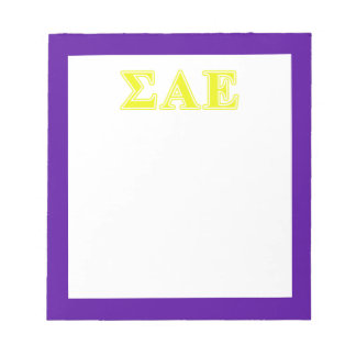 Sigma Alpha Epsilon Yellow Letters Notepad