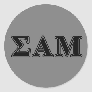 Sigma Alpha Mu Black Letters Round Sticker