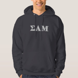 Sigma Alpha Mu White and Purple Letters Hoodie