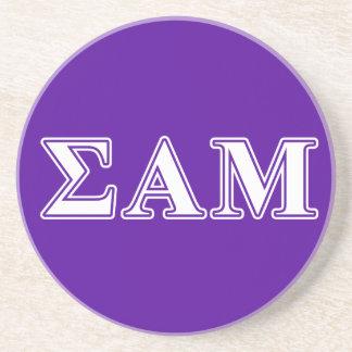 Sigma Alpha Mu White and Purple Letters Sandstone Coaster