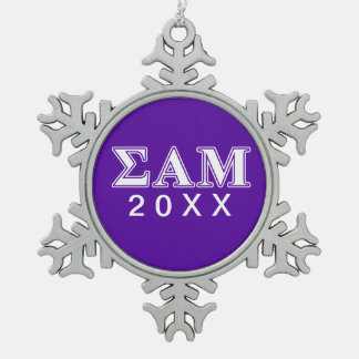 Sigma Alpha Mu White and Purple Letters Snowflake Pewter Christmas Ornament