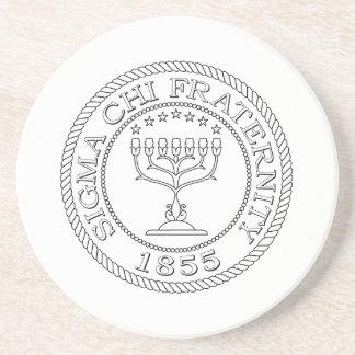 Sigma Chi Grand Seal B+W Coaster