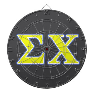 Sigma Chi Yellow and Blue Letters Dartboard