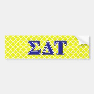 Sigma Delta Tau Blue Letters Bumper Sticker