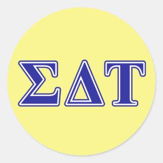 Sigma Delta Tau Blue Letters Classic Round Sticker