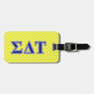 Sigma Delta Tau Blue Letters Luggage Tag
