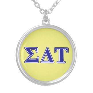 Sigma Delta Tau Blue Letters Silver Plated Necklace