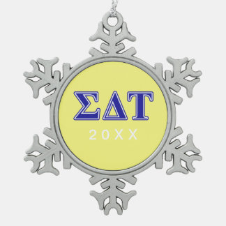 Sigma Delta Tau Blue Letters Snowflake Pewter Christmas Ornament