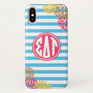 Sigma Delta Tau | Monogram Stripe Pattern iPhone X Case