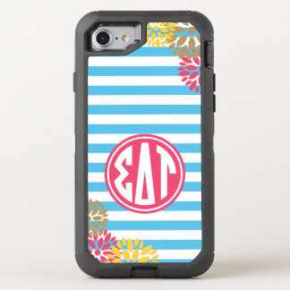 Sigma Delta Tau | Monogram Stripe Pattern OtterBox Defender iPhone 8/7 Case