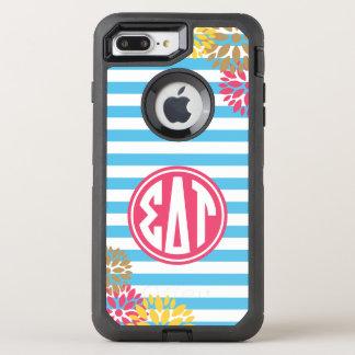 Sigma Delta Tau | Monogram Stripe Pattern OtterBox Defender iPhone 8 Plus/7 Plus Case