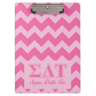 Sigma Delta Tau Pink Letters Clipboard