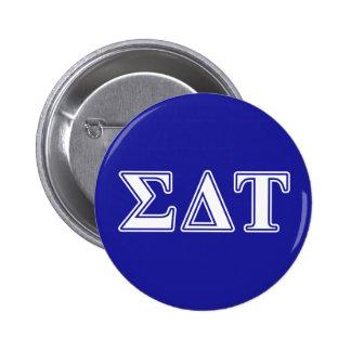 Sigma Delta Tau White and Blue Letters 6 Cm Round Badge
