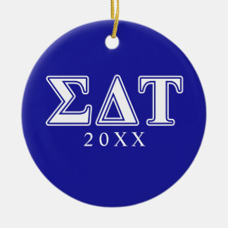 Sigma Delta Tau White and Blue Letters Christmas Ornament