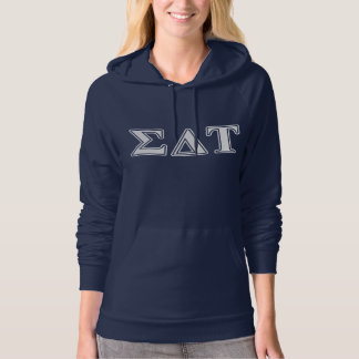 Sigma Delta Tau White and Blue Letters Hoodie