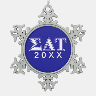Sigma Delta Tau White and Blue Letters Snowflake Pewter Christmas Ornament