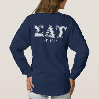 Sigma Delta Tau White and Blue Letters Spirit Jersey