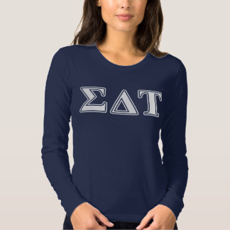 Sigma Delta Tau White and Blue Letters T-shirt