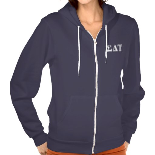 Sigma Delta Tau White and Blue Letters Hooded Sweatshirt