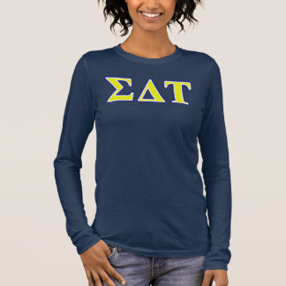 Sigma Delta Tau Yellow and White Letters Long Sleeve T-Shirt